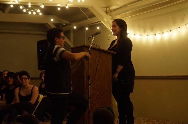 carly adjusts vanessa's microphone (photo by taylor)