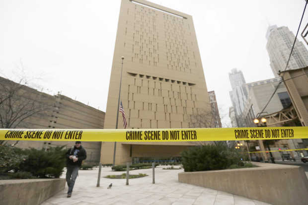 crime scene tape around the Chicago MCC after two inmates escaped