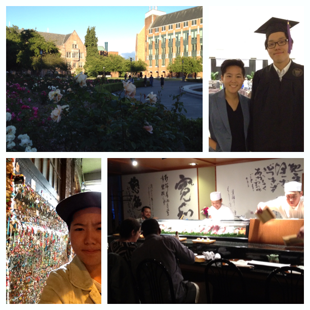 U of Washington, me and my brother, Pike Place's wall of gum, sushi!