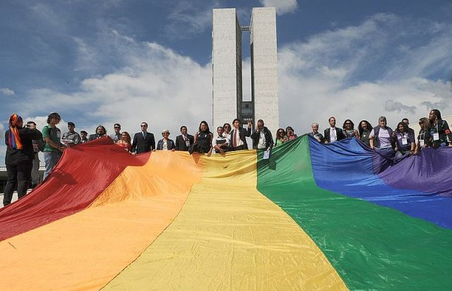 LGBT PROTESTERS OUTSIDE THE NATIONAL CONGRESS {VIA AGENCIA BRASIL}