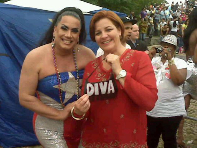 Apolonia Cruz, performer and host of the Bronx Pride Festival with Hon. Chrstine Quinn. (also, this pic is amazing just cuz)