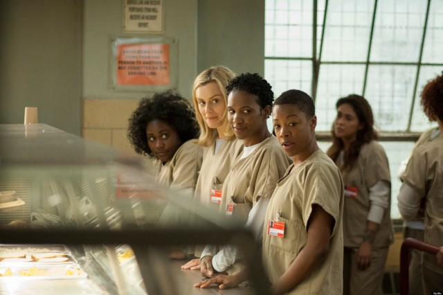 "Danielle Brooks as Tasha ""Taystee"" Jefferson, Taylor Shilling as Piper, Vicky Jeudy as Janae Watson and Samira Wiley as Poussey"