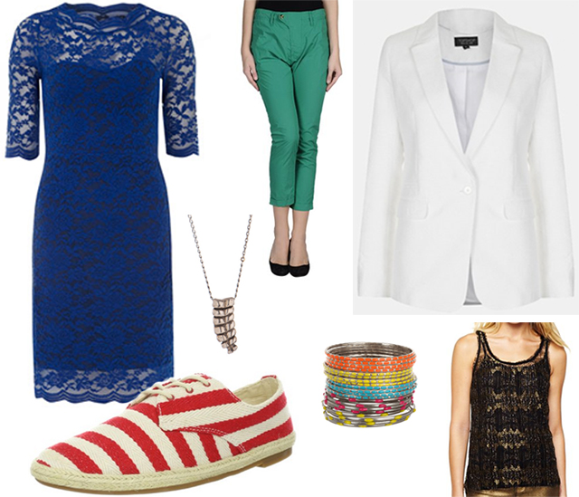 Clockwise from top left: Blue Dress, Green Pants, White Blazer, Gold Shirt, Bangles, Necklace, Striped Shoes