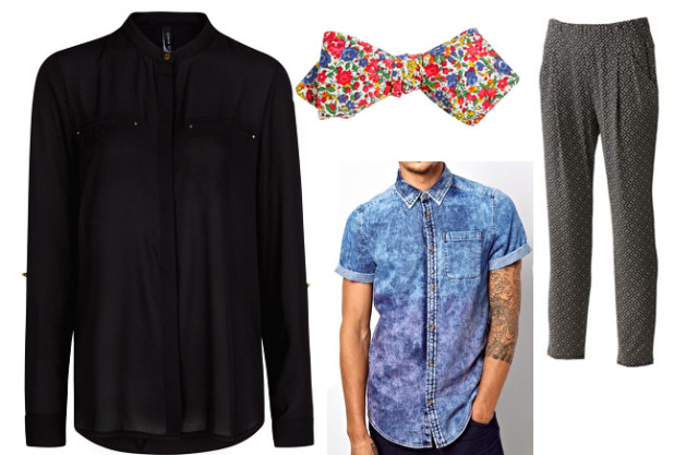 Clockwise from top left: Black Shirt, Floral Bow Tie, Gray Pants, Acid Wash Shirt