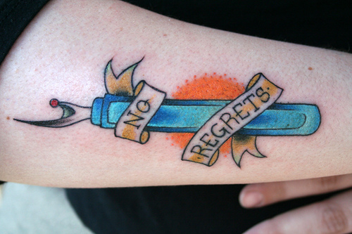this seam ripper tattoo is the best thing ever