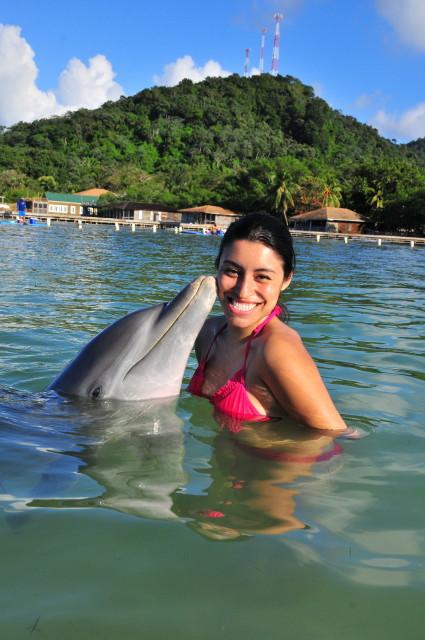i wonder what the dolphin is saying to amanda, what do you think?