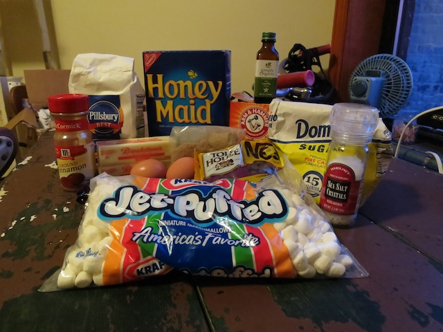 just some simple s'mores ingredients, nothing fancy