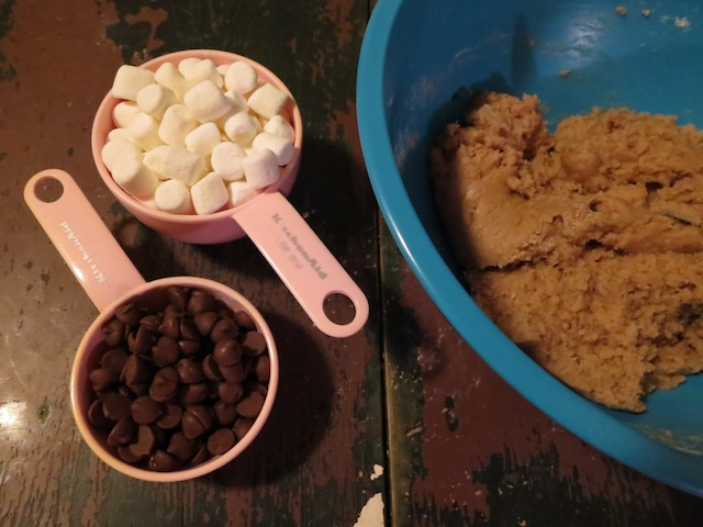 chocolate chips and mini marshmallows and cookie dough, oh my