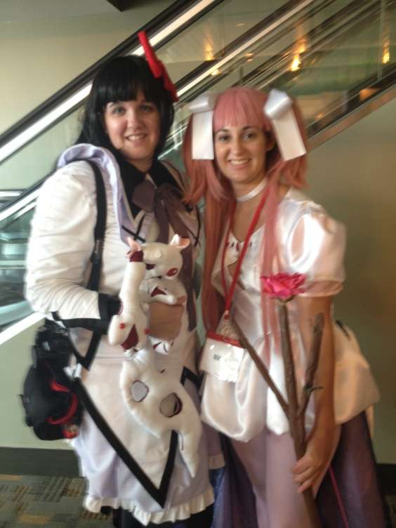 Cosplayers as Homura Akemi and Madoka Kaname from Puella Magi Madoka Magica