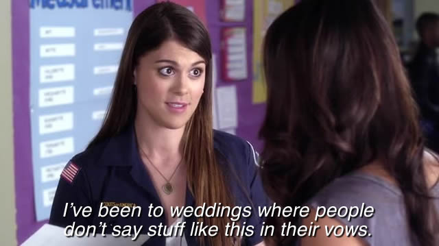 """Those are called """"straight weddings"""""""