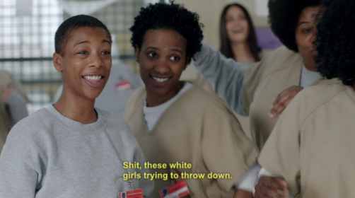 and poussey can throw us down on a bed any time she wants