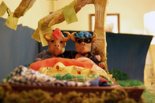 Claymation buffalo on the set of Chapter 5 of Valencia: The Movie