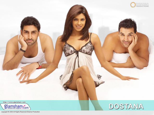 Abhishek Bachchan as Sameer, John Abraham as Kunal, and Priyanka Chopra as Neha in Dostana via GlamSham.com