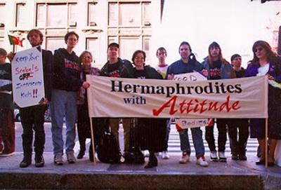 The first public intersex protest in the US (Oct 26, 1996). via intersexualite.de