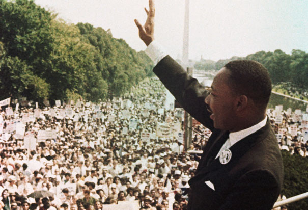 Rev. King delivers his speech on the steps of the Lincoln Memorial, August 28, 1963. via History.com.