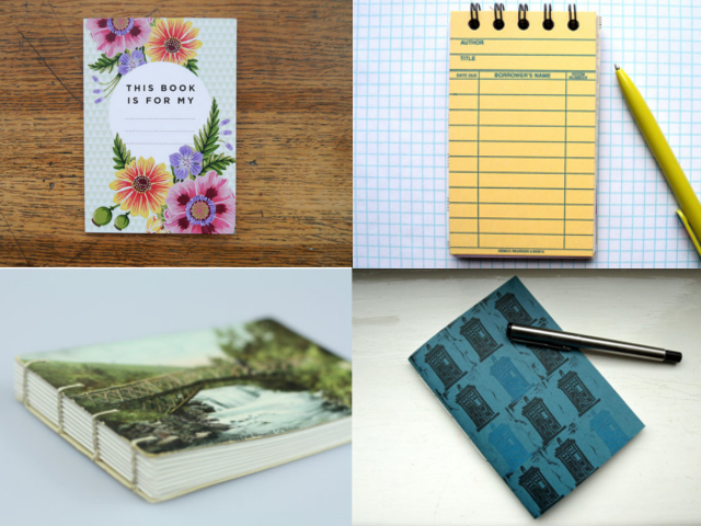 Clockwise from upper left: A6 Summer Blooms Notebook, Vintage Library Card Notebook, Coptic Bound Vintage Postcard Notebook, TARDIS Blue Soft Cover Notebook