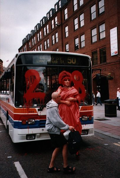 A drag queen in Manchester protesting against Stagecoach, whose owner publicly supported Section 28 (via Wikipedia)
