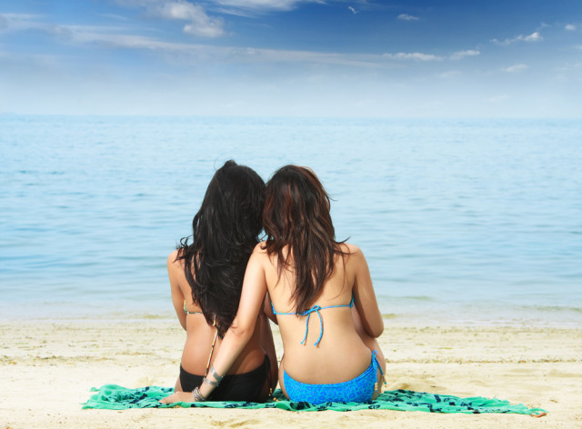 lesbians on the beach remembering
