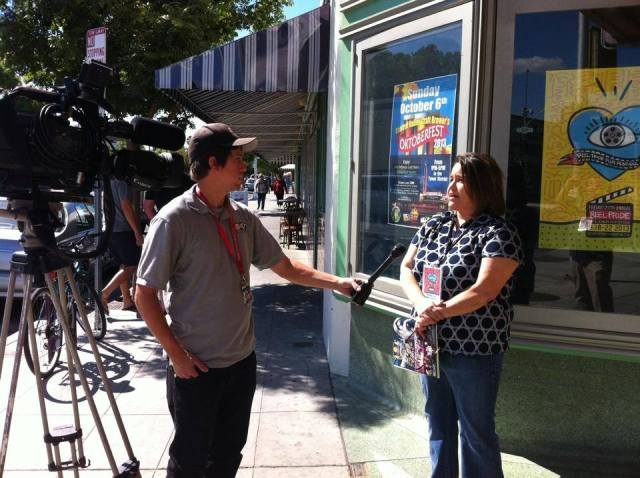 Kathleen Reyna being interviewed by local TV station