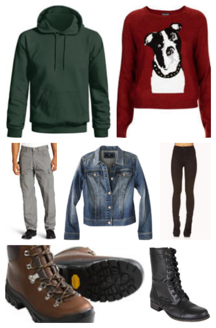green hoodie/Maroon Dog Sweater/Cargo Pants/Denim Jacket/Black skinny jeans/hiking boots/Troopa boots