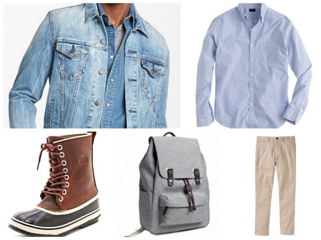 Levi Denim Jacket/J.Crew Slim Secret Wash in Blue Stripe/Sorel Boots/Everlane snap backpack/Old Navy Slim Fit Khakis