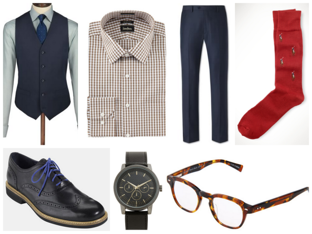 Charles Tyrwhitt Navy twill vest /  Neiman Marcus Check Dress Shirt / Navy twill double breasted slim fit suit pants / Polo Allover Pony Socks Cole Haan 'Great Jones' Wingtips / Accutime Leather Strap Watch / Eyebobs Benchmark Readers