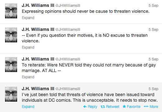 J.H. Williams III and Haden Blackman, now former writers for Batwoman, both condemned the threats of violence levied at DC after news broke of their departure.Via @JHWilliamsIII.