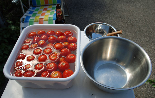 Tomato Prep 1: The all important hulling and beering step