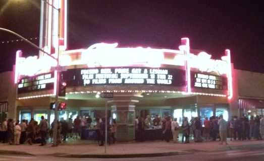 The crowd gathers after Ladies Night outside Tower Theatre