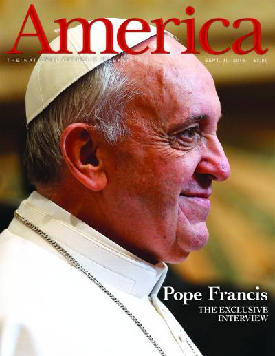 America magazine cover showing Pope Francis