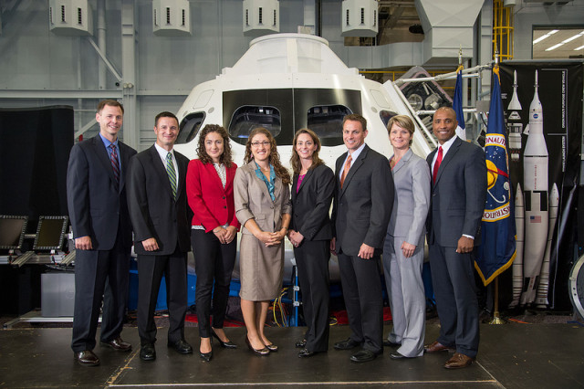 Astronaut Candidate Class of 2013: Tyler Hague, Andrew Morgan, Jessica Meir, Christina Hammock, Nicole Aunapu Mann, Josh Cassada, Anne McClain, Victor Glover. Via NASA Flickr.