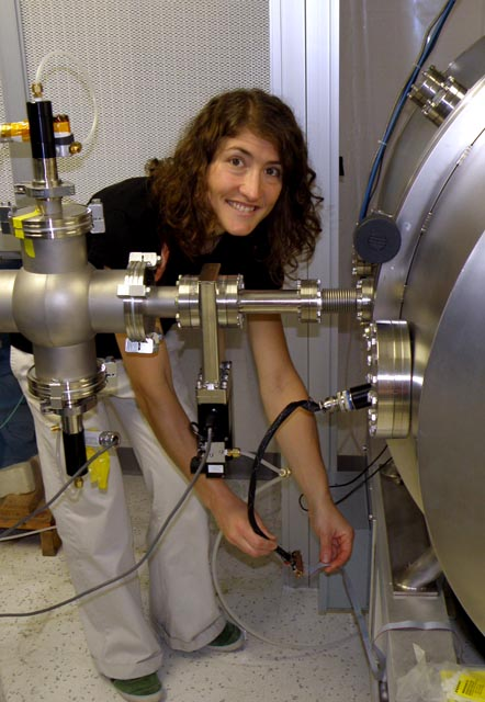 Christina Hammock uses a particle accelerator to test an instrument for the NASA Juno Mission to Jupiter while working as an electrical engineer at the Johns Hopkins University Applied Physics Lab. Via The Antarctic Sun.