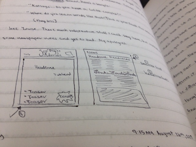 This true-life selection from my erstwhile journal features a proposed layout for the high school newspaper.
