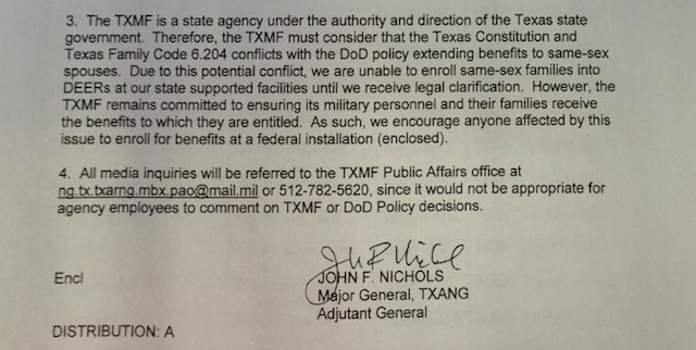 The memorandum from Texas Military Forces Major General John F. Nichols announcing the decision not to process same-sex benefits at state facilities. (via: The Blaze)