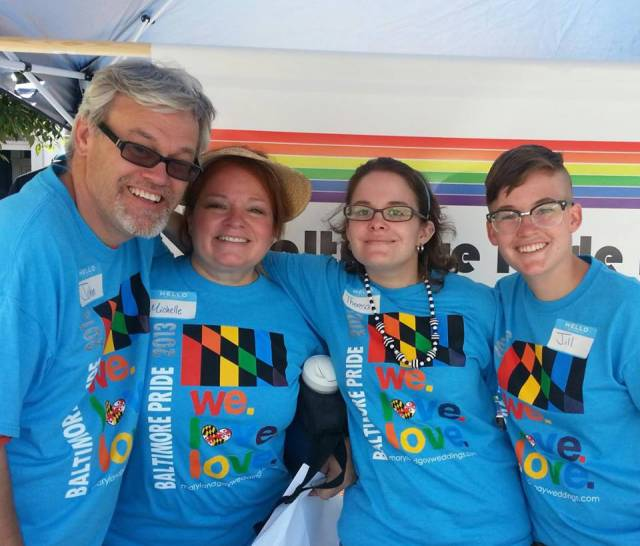 Jill/Gilles (far right) volunteering at Pride