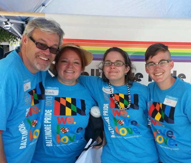 Jill/Gilles (far right) volunteering at Pride