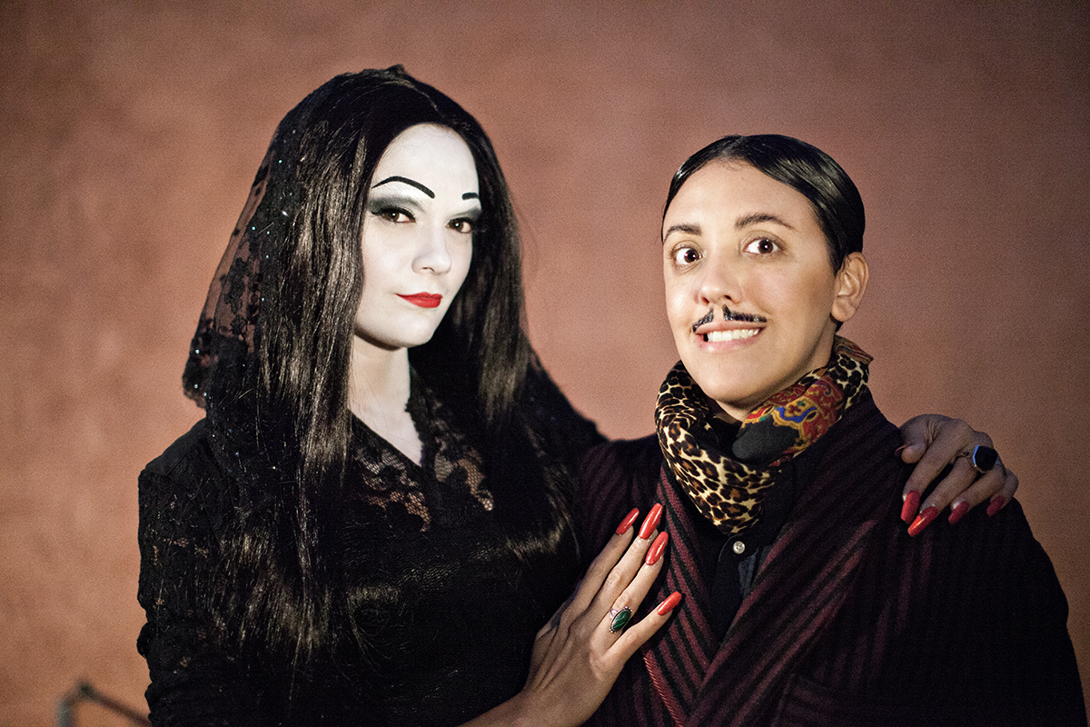 halloween dreams come true: robin and carly as morticia and gomez