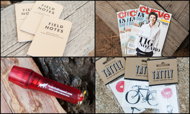 amazing gift bag items from sponsors! 3-pack of field notes, curve magazine (robin shot the tig notaro cover!), mini-flashlights from wolfe video and temp tattoos from tattly