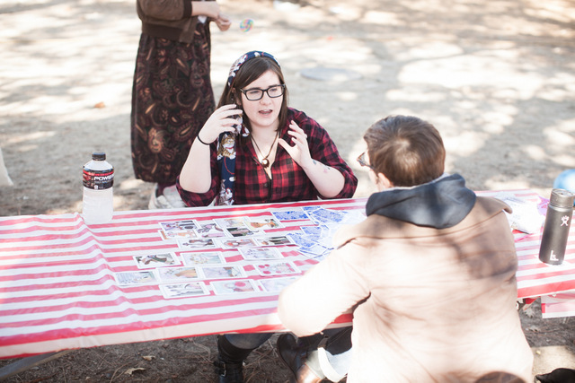 jane and sarah at the tarot card table (photo by robin)