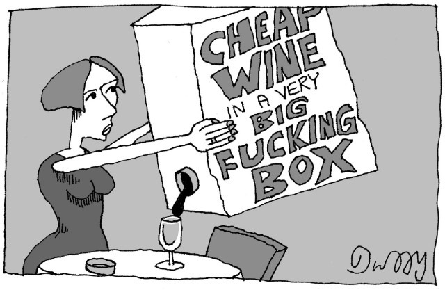 "A person pouring liquid out of a box labeled ""Cheap wine in a very big fucking box."""