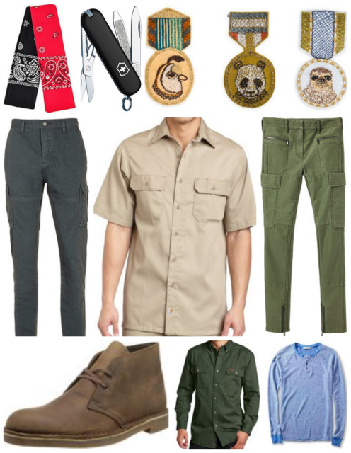 Bandana Set/Animal Badge Set//Pocket Knife/Grey Cargo Pants/Cotton-Twill Work Shirt/Skinny Green Cargo Pants/Clark Desert Boots/Green Twill Workshirt/Blue Thermal