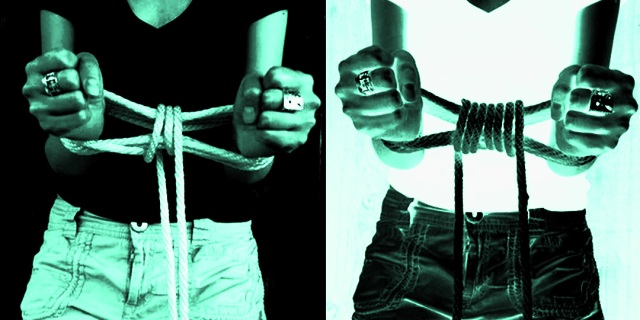 two side by side images of a progression of rope being tied around their wrists. the images are a positive and negative and are in a striking black and mint green contrast