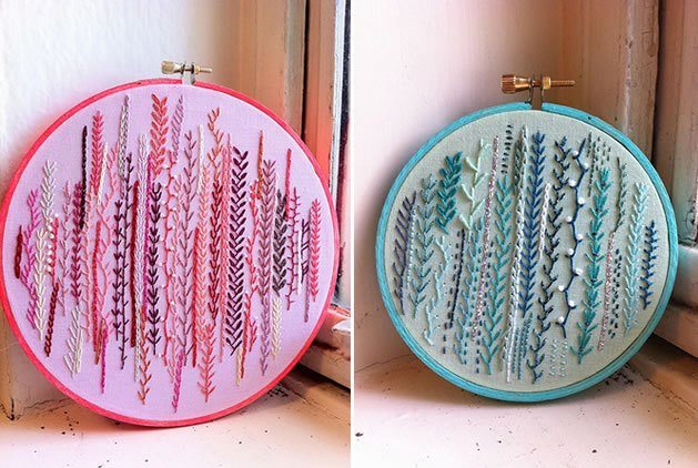 An embroidery sampler featuring the feather stitch. via {Craftster}