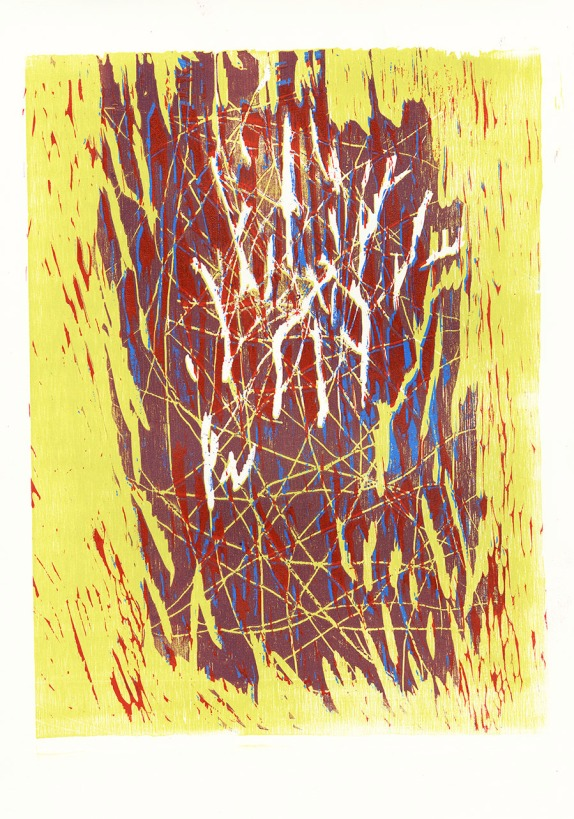 chaos in color 11 x 14 in, relief reduction print 2012 via {Jessica Buie}
