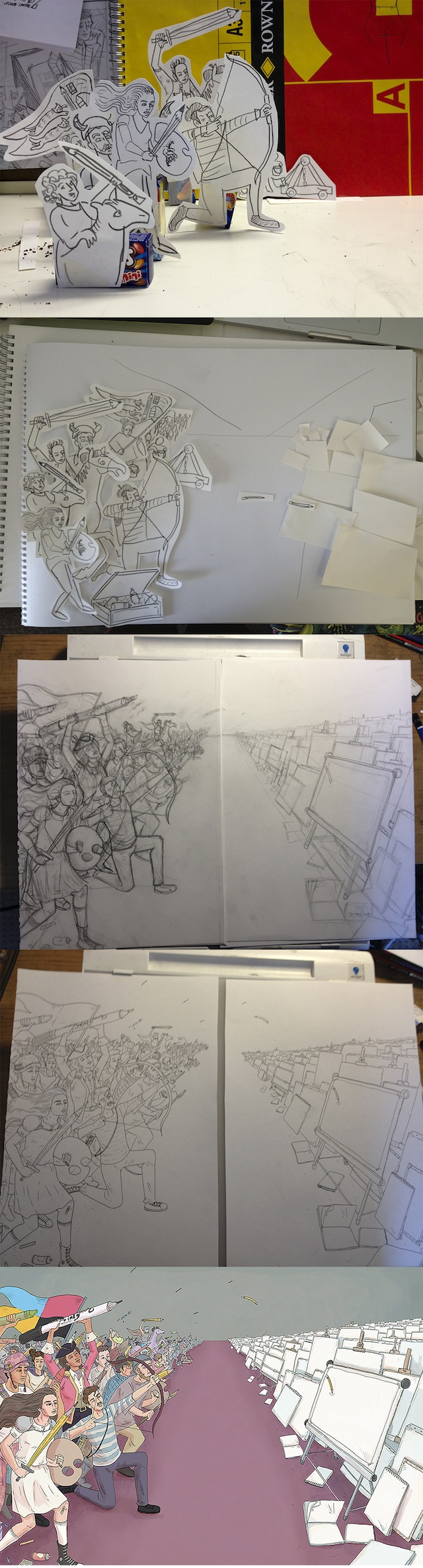 Rory's drawing process in action
