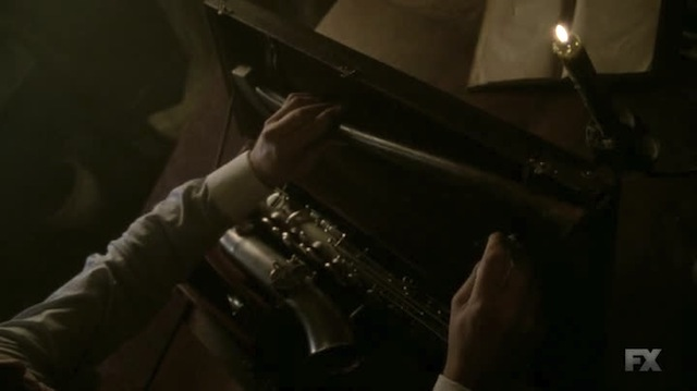 Room for one saxophone, sheet music, and a murder weapon