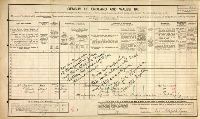 the 1911 Census form she refused to fill out. Via: nytimes.com