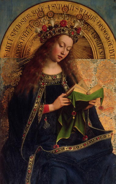 """I'm the queen of heaven, nbd."" from the Ghent Altarpiece by Hubert van Eyck"