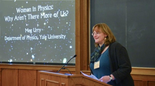 Dr. Meg Urry, professor of physics and astronomy at Yale, spends much of her time working against sexism in science. via http://news.yale.edu/photos/yale-hosts-nearly-200-future-female-physicists