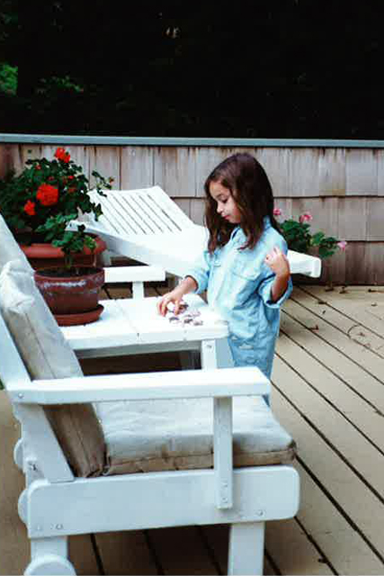 This is Alison crafting as a tiny human.